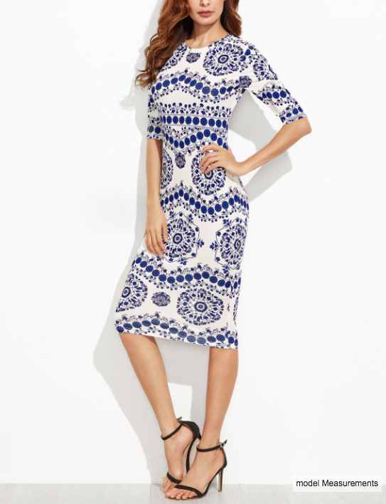 SHEIN - Porcelain Print Pencil Dress 2