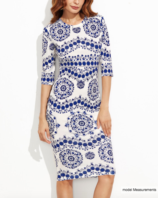SHEIN - Porcelain Print Pencil Dress 3
