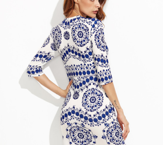 SHEIN - Porcelain Print Pencil Dress 4